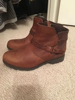 Teva Womens Delavina Brown Leather Ankle Boots NWOB 6
