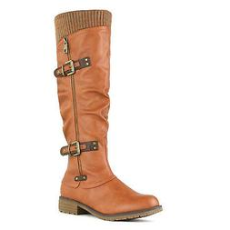 DREAM PAIRS Womens DEPP Cowgirl Soft PU Leather Combat Knee