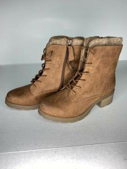 Universal Thread Womens Dez Hiker Boots Cognac Brown Lace Up