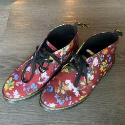Womens Dr. Martens Daytona Boots Shoes Floral Burgendy Size