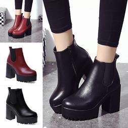 Womens Fashion Martin Shoe Tick Platform Zipper Ankle Boots