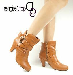 Womens Fashion Shoes Tan Ankle Boots Med-Heel Round Toe Casu