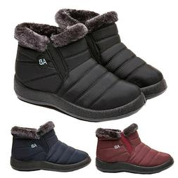 Womens Flat Ankle Snow Boots Winter Warm Fur Lining Slip On