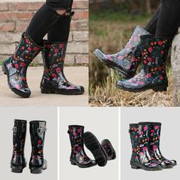 Womens Flat Mid Calf Rubber  Waterproof Rain & Snow Boots Ra