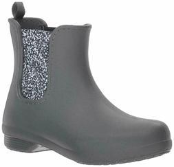 Crocs Womens Freesail Cheksea Rain Boots Gray Dots Size 7 Ne