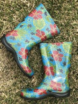 SLOGGERS Womens Garden Rain Boots Size 6 Blue Floral Print R
