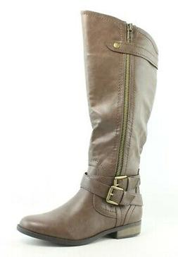 Rampage Womens Hansel Wide Calf Brown Smooth Fashion Boots S