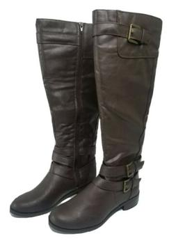 Soda Womens High Riding Brown Boots With Side Zipper Faux Le