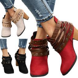 Womens Ladies Ankle Boots Ladies Strappy Mid Block Heel Mart