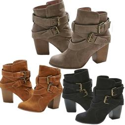 womens ladies ankle boots low mid block