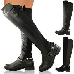 WOMENS LADIES OVER THE KNEE THIGH HIGH STRETCH PULL ON LOW F