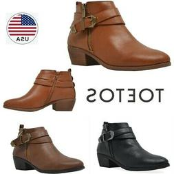 TOETOS Womens Ankle Boots Low Chunky Stacked Heel Side Zippe