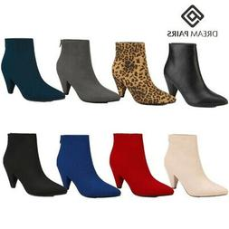 DREAM PAIRS Womens Winter Pointed Toe High Heel Ankle Boots