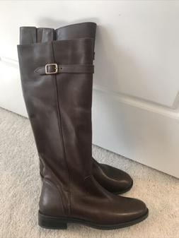 Womens Italian Shoemakers Leather Boots Brown Tall Riding Bo