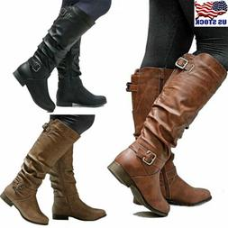 Womens Leather Mid Calf Boots Low Heels Flat Buckle Knee Hig