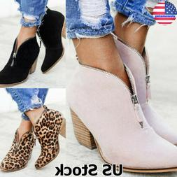 Womens Low Mid Block Heel Ankle Boots Ladies Chunky Casual B