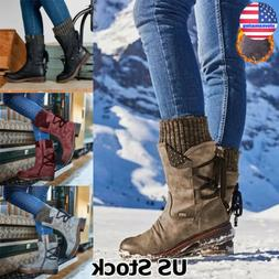 Womens Mid Calf Boots Flat Low Heels Back Lace up Winter War