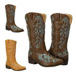 Womens Mid Calf Embroidered Western Cowgirl Cowboy Boots Bro