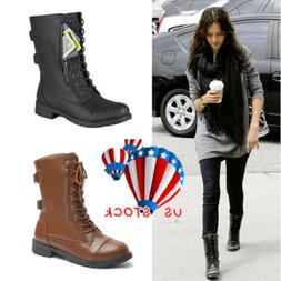 Womens Military Boots Ladies Army Combat Lace Up Flat Biker