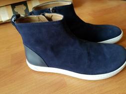 Womens  Birkenstock Myra Navy Blue Suede Ankle Boots Cork Fo