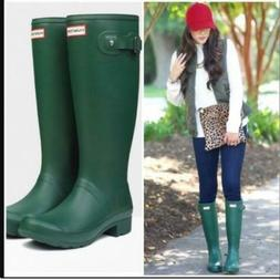Hunter Womens Original Tall Green Matte Rain Boot -  US)