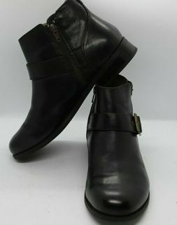 VIONIC Womens Orthotic Logan Ankle Boots Buckles Black Sz 9.
