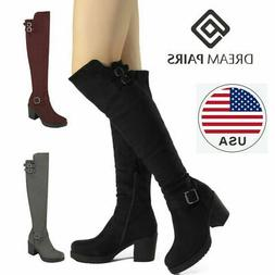 DREAM PAIRS Womens Over Knee Thigh High Slouch Suede High He