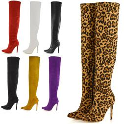 Womens Over The Knee Thigh High Stiletto Heel Ladies Stretch