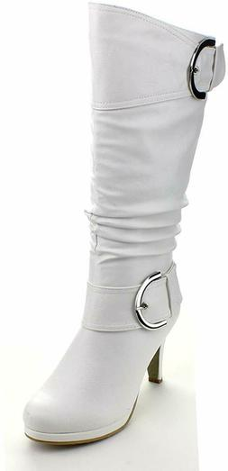 Top Moda Womens Page-22 Knee High Round Toe Buckle Slouched