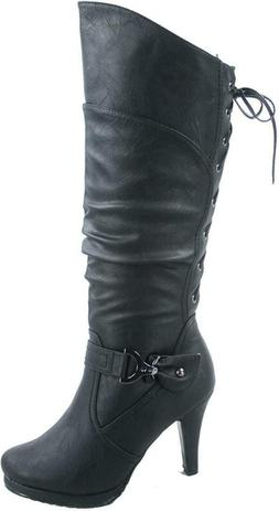 Top Moda Womens Page-65 Knee High Round Toe Lace-Up Slouched