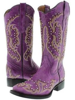 Womens Purple Studded Stitched Leather Western Cowboy Boots