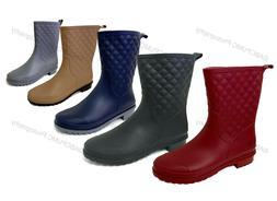 Womens Rain Boots Rubber Mid Calf Block Heel Waterproof Shor