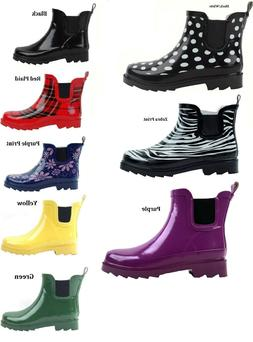 WOMENS RAIN BOOTS SHORT LINED ANKLE RUBBER ASSORTED SOLID OR