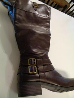 Womens Rampage  Ram-Ingred Brown Knee-High Boots 7W NEW W/O