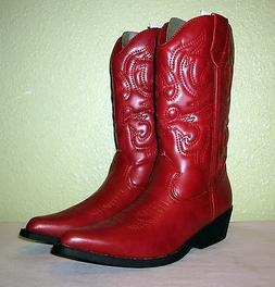 WOMENS RED FAUX LTHR RAMPAGE CLASSIC COWBOY WESTERN BOOTS US