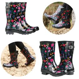 Womens Rubber Rain Boots Floral Printed Adjustable Buckle Pu