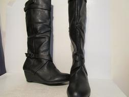 Rampage Womens Sangee Wedge Knee High Riding Side Zip Boots