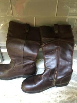 Birkenstock Womens Sarnia High Brown Leather Slip On Tall Bo