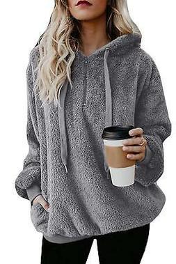 Yanekop Womens Sherpa Pullover Fuzzy Fleece Sweatshirt Overs