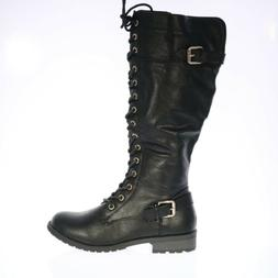 Womens Forever Side Zip Front Lace Riding Low Heel Boots Bla