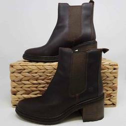 Timberland Womens Sienna High Chelsea Boots Brown Block Heel