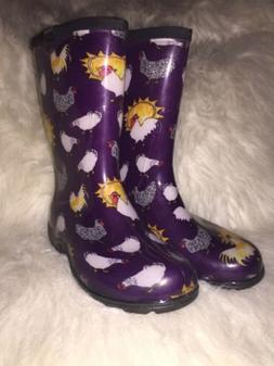 Sloggers Womens Size 6 Eggplant With Chickens Waterproof Gar