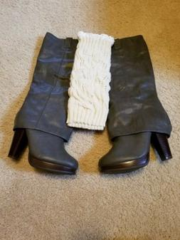 Womens size 8 knee high gray fur lined leather boots new