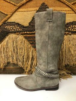 RAMPAGE WOMENS Size 9.5 M GRAY SUEDE LEATHER RIDING BOOTS  W