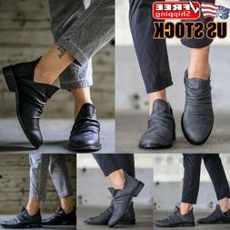 Womens Slip On Chelsea Ankle Boots Ladies Casual Biker Flat