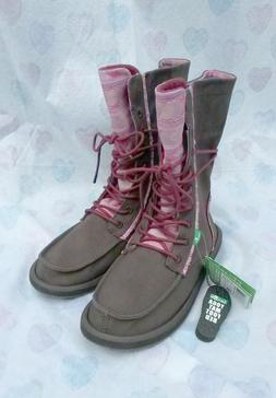 Sanuk Womens Stevie Boots Brown Pink Lace Up Canvas Military