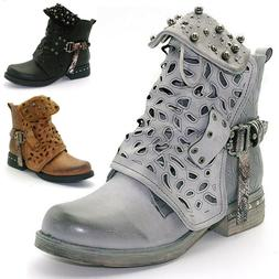 Womens Combat Military Ankle Boots Lace Up Zip Buckle Gothic