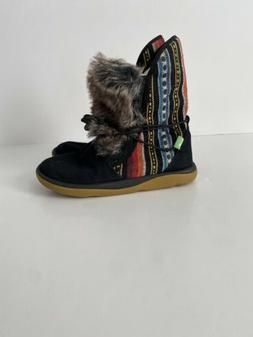 Sanuk Womens Tripper Flurry Boots Black Faux Fur Size 6