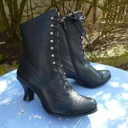 Womens Victorian Mid-Calf Leather Boots Steampunk Lace Up Hi