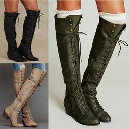 Womens Vintage Roman Knight Motorcycle Leather Boots Knee Hi